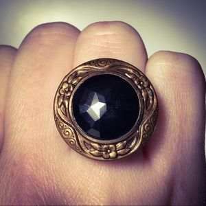 Cocktail ring made from Victorian era button